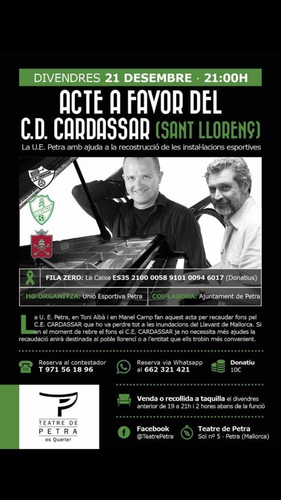 21/12/18: Concert Toni Albà i Manel Camp, teatre de Petra